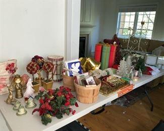 Vintage bisque bells, Vintage gold reindeer, Vintage angels, Vintage boot door decoration, assorted cards, stockings, Wine gift boxes, table trees, Neiman Marcus modern metal trees, misc decor