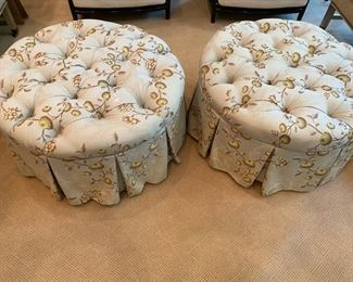 Matching tufted/skirted ottomans