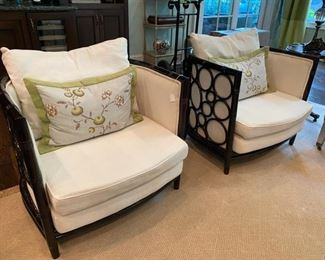 Pair of faux bamboo upholstered chairs