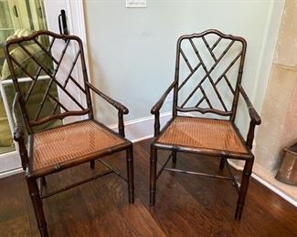 Pair of faux bamboo/cane seat armchairs