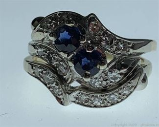 14k Diamond and Sapphire Ring Set Appraised