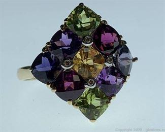 14k Peridot Amethyst Sapphire and Diamond Ring