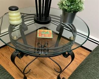 Round Glass End Table