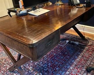 """Theodore Alexander desk originally $3000 asking $1190 purchased at Michael Folks 34""""d x 30""""h x 62""""w  Campaign style.  Lamp not for sale."""