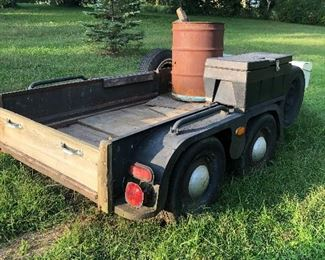 Homemade Trailer with Four Wheels and Two Tool Boxes