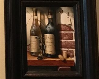 Original Signed wine Art ,  great for bar area
