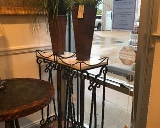 Fabulous iron plant stands with white marble top and beautifully designed base