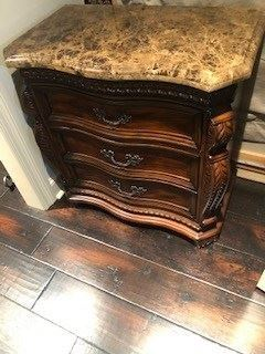 Lovely Hardware & Thick marble top on this beautifully designed 3 drawer chest ,..  exquisite detail