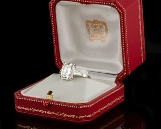 A Cartier 7.55 CT Diamond and Platinum Ring