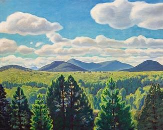 """Rockwell Kent (American 1882-1971) """"Tree Tops and Mountain Peaks"""""""