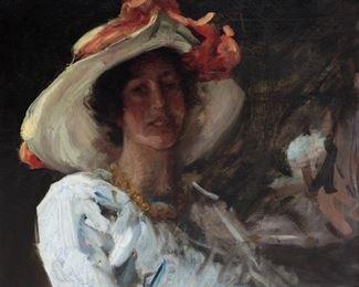 """William Merritt Chase (American, 1849-1916) """"Study of Clara Stephens"""""""