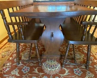 Quality HandMade Trestle Table with 2 Benches
