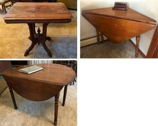 Vintage wood tables.