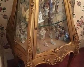 RARE Victorian Vitrine and Porcelain Figurine Collection