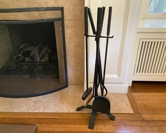 "Black iron fireplace screen and tools                  225.00               screen 31""h x 37""w x 9""d"
