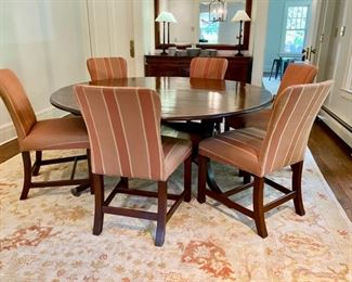 Tom Stringer custom Regency-style inlaid dining table & chairs