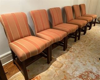 "Set of eight Tom Stringer custom dining chairs             Asking: 1400.00       Originally 9200.00                                                                                          37""h x 22""w x 27""d"
