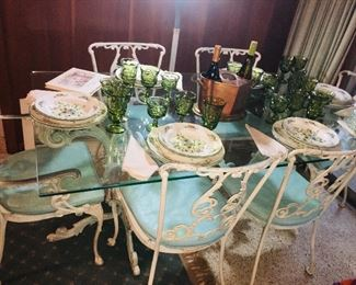 Mid Century Wrought iron  and Glass dining table and chairs