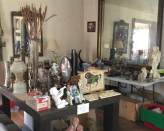 Antique mirror, collectibles,