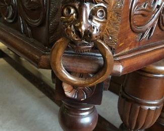 Antique library/foyer table. Great detail wood work!