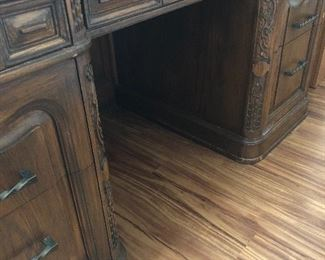 Executive desk carved wood beautiful detail.