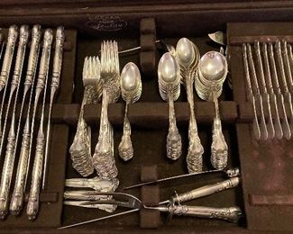 Large set of Gorham Chantilly sterling flatware