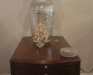 Havertys end table and Mercury glass lamp