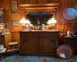 Antique Oak sideboard with attached mirror