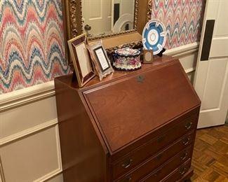 Antique Drop leaf desk and large Mirror