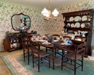 Antique rush bottom chairs, sideboard and china cabinet by Whitley.