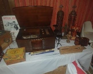 Antique record player and other home decor