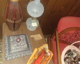 Ashtray, oil lamp, 60's end table