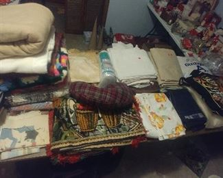 Blankets, Sheets, small rugs, fabric