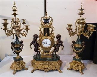 001 Vtg Franz Hermie Imperial Mantle Clock Candelabras