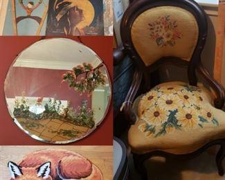 antiques, vintage sheet music, fox rug