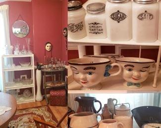 Vintage Baileys cups, crocks, primitives