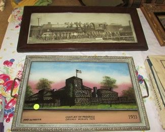 Antique Railroad Photograph and Century of Progress Fort Dearborn Reverse Painting on Glass