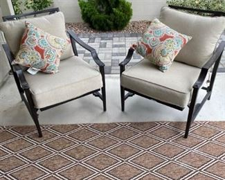 Patio Chairs with Cushions and Outdoor Rug