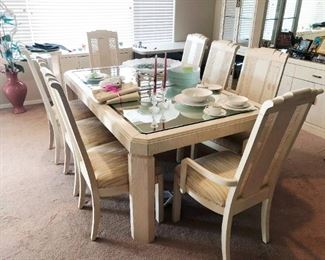 American of Martinsville dining room set, with mirrored hutch and bar to match