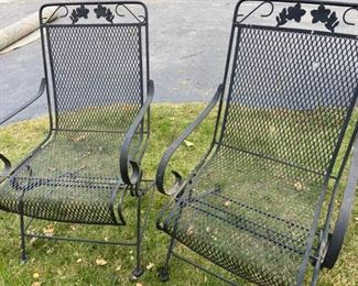 2 Black Wrought Iron Spring Rocker Outdoor Chairs
