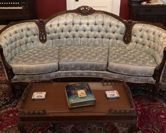 ANTIQUE KIMBALL CARVED CURVED BACK TUFTED SOFA