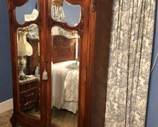 ANTIQUE FRENCH CARVED ARMOIRE w/BEVELED GLASS MIRROR DOORS