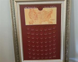 Framed for US quarter collection 28 x 21
