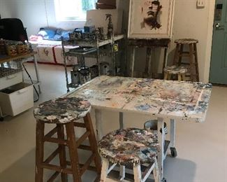 Original art and artist stools and work tables