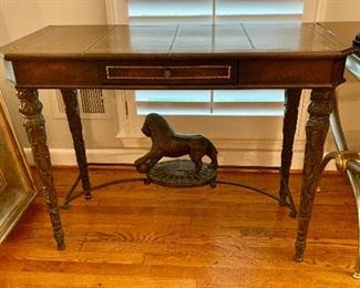 "$795 Regency style, ornate carved, writing desk, leather top, single drawer with lion detail. 31""H x 19"" D x 40.5""W"