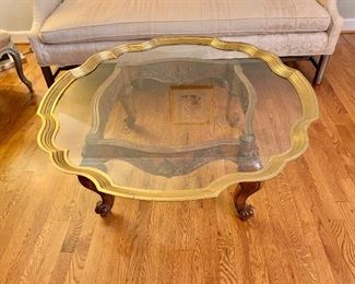 "$295 - Brass/glass, scalloped coffee table, 42"" x 42"" 18"" H"