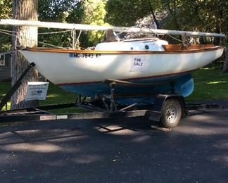 Cape Dory Typhoon Weekender with custom built trailer includes 6 hp outboard motor, mast, boom, main & furling Genoa sail all in good condition
