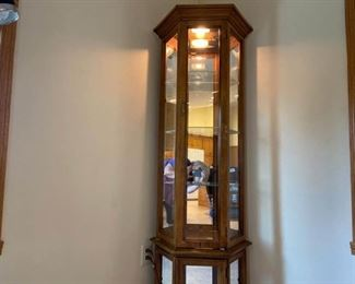 3 Sided Mirror Back Curio Cabinet