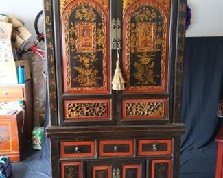 Two Piece Chinese Armoire