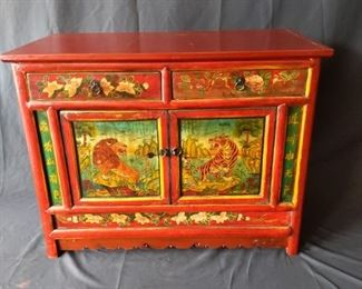 Red Asian Lion Tiger Cabinet